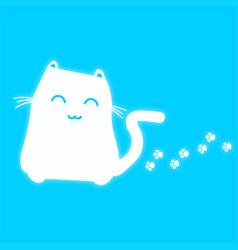 Cat blue neon vector
