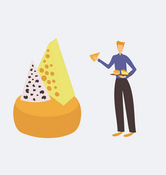 Cheese seller presenting a table cheese vector