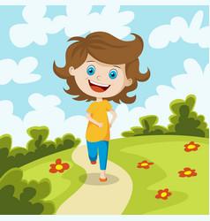 Child running through a meadow vector