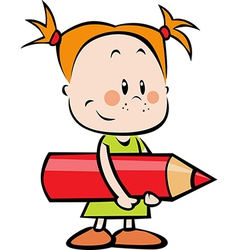 Child with pencil - little girl hold red crayon vector