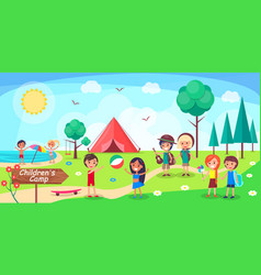 Children s camp poster depicing kids having fun vector