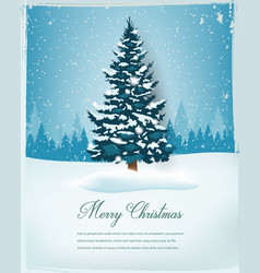 christmas tree with snowy winter landscape vector image