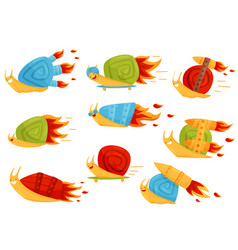 Collection of funny snails with turbo speed vector