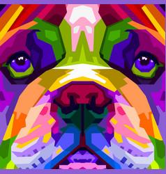 Colorful close up english bulldog on pop art vector