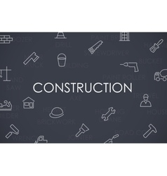 Construction Thin Line Icons vector image