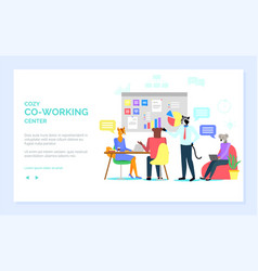 Cozy coworking center hipster animals at work web vector