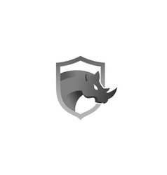 creative rhinoceros head shield logo design symbol vector image