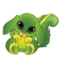 cute animated cartoon animal green color isolated vector image