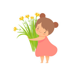 cute brunette little girl with bouquet meadow vector image