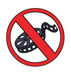 Cute cartoon no movies allowed sign vector