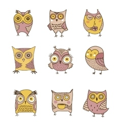 Cute hand drawn owl vector