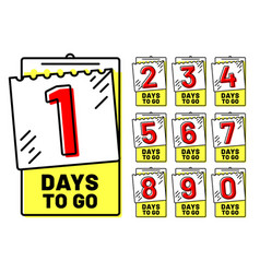 days to go badges countdown badge number of day vector image