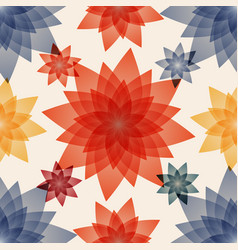 Decoupage with red blue and yellow flowers vector