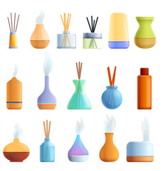 Diffuser icons set cartoon style vector