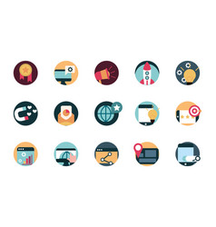 digital marketing advertising media icons set vector image