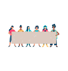 diverse woman friend group holding empty banner vector image
