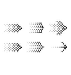 dots arrow icon set halftone arrows vector image