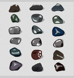 eighteen natural stones and shadows vector image