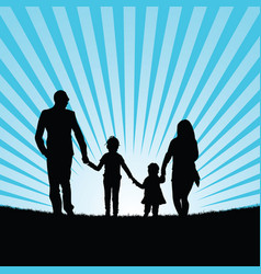 family with happy children in beauty landscape vector image