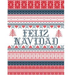 Feliz navidad nordic style christmas vector