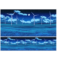field and wind generators at night vector image