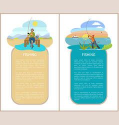 Fishing posters set with men vector