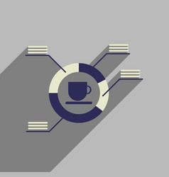 flat web icon with long shadow coffee infographics vector image