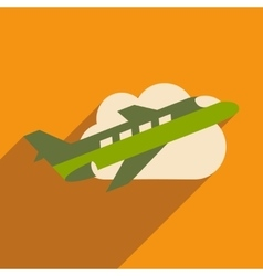 Flat with shadow icon and mobile application plane vector