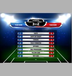 Football statistics scoreboard template vector