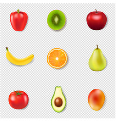 Fresh fruits and transparent background vector