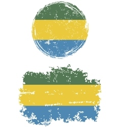Gabonese round and square grunge flags vector image