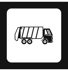 Garbage truck icon simple style vector image