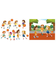 girls and boys playing basketball vector image