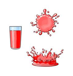 Glass cup splash drop of juice set vector