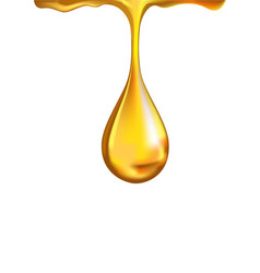 Gold shiny droplet falling vector