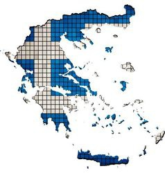 Greece map with flag inside vector