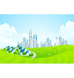 Green Landscape with City line and Cottage Village vector image