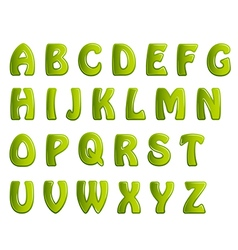 green shiny letters holiday fonts vector image