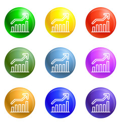 grow up graph icons set vector image