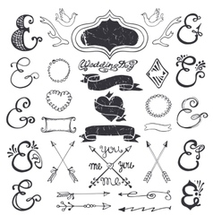 Hand drawing lettering ampersands kit Wedding vector image