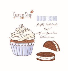 Hand drawn cupcake chocolate cookie flavor vector