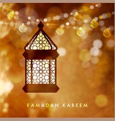 Hanging illuminated arabic lamp lantern vector