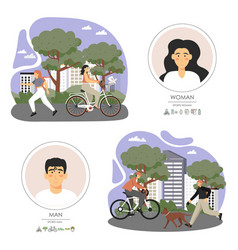 happy active people riding bicycle jogging vector image