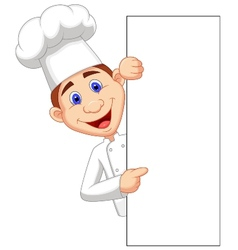 Happy chef cartoon holding blank sign vector