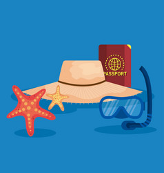 Hat with passport and snorkel masks with starfish vector