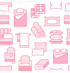 Home textiles seamless pattern with flat line vector