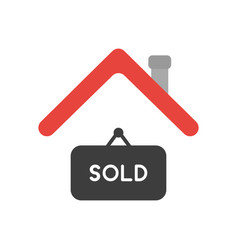 Icon concept of sold hanging sign under house roof vector
