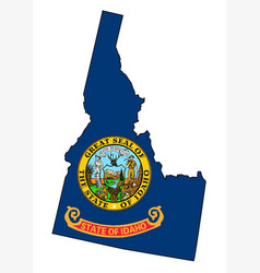 Idaho state outline map and flag vector
