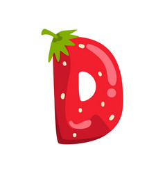 Letter d english alphabet made from ripe fresh vector