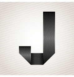 Letter metal ribbon - j vector